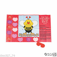 VALENTINE'S DAY Party Kids Classroom Game PIN THE HEART ON THE BEE For 12 Guests