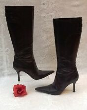 "GENUINE KAREN MILLEN LEATHER DARK BROWN KNEE HIGH BOOTS SIZE 6.5 3.5"" HEEL"