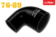 """4 Ply Silicone 90 Degree Reducer Elbow Joiner Hose Pipe 76mm-89mm 3""""- 3.5"""" Black"""