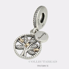 Authentic Pandora Silver & 14K Gold Family Heritage CZ Pendant 791728CZ