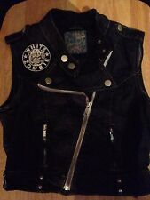 White Zombie Girls Sleeveless Biker Jacket Black Denim Cut-Off Waistcoat Vest