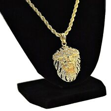 "Lion Iced-Out Black & Gold Tone Bling Pendant Hip Hop Chain 24"" In Rope Necklace"