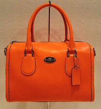 NWT! Coach Neon Orange Crossgrain Leather Mini Satchel Crossbody Bag F34697