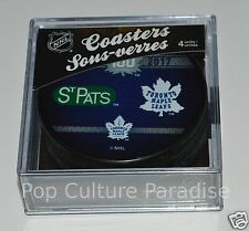 TORONTO MAPLE LEAFS 1917-2017 100 Years Logos HOCKEY PUCK COASTERS SET of 4 NEW