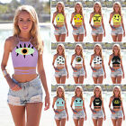 Womens Summer Strappy Sleeveless Vest High Neck Tank Crop Tops Cami T-shirts Tee