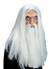 DELUXE MAGICIAN MASK WITH HAIR & BEARD SCARY HALLOWEEN FANCY WIZARD DUMBLEDORE