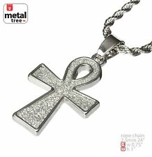 """Silver Plated Micro Mini Egypt Ankh Cross Pendant 2.5 mm 24"""" Rope Chain HC 231 S"""
