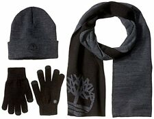 TIMBERLAND LOGO SCARF, MAGIC GLOVE & WATCHCAP BEANIE ACCESSORY SET. CHARCOAL NEW