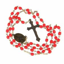 "Red Plastic Bead Bronze Crucifix Rosary 5mm 6.5"" 30"""