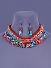 "18"" bead bib collar choker necklace 1.50"" earrings boho"