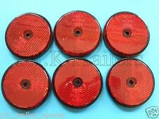 FREE P+P* 6 x Red Rear Screw on 60mm Round Reflectors - Trailers & Horse Box