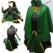 Customized The Avengers Loki Cosplay Costume Women's Dress Full Suit PU Cloak