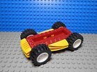 LEGOS - Four Wheeled Red Vehicle Base with Yellow Bumper, Side Attachments