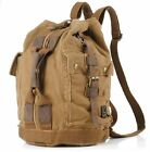 Mens Vintage Canvas Leather Travel Military Backpack Hiking Satchel School Bag