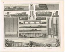 ANTIQUE PRINT VINTAGE 1850S ENGRAVING ENGINEERING TECHNOLOGY CANALS & AQUEDUCTS