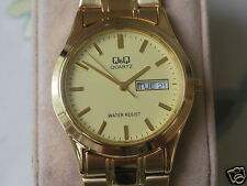 New Q&Q by Citizen Gold Tone Men's Watch w/Date/Day & Golden Dial