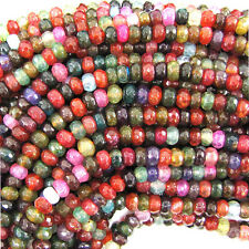 """5mm faceted watermelon tourmaline agate rondelle beads 15"""" strand"""