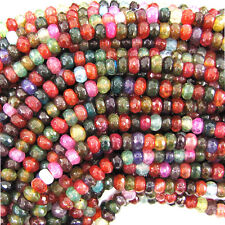 "5mm faceted multicolor agate rondelle beads 7.5"" strand"