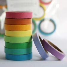 Inkling Set of 10 Mini Washi Tape Masking 7mm Assorted Rainbow 10 x Pack