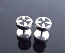 Round Silver Maltese Cross Stud PAIR Ear Ring Earrings Biker Punk