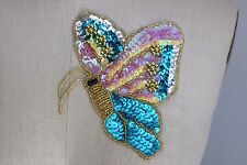 """4.5 X 6"""" COLORFUL BEAD & SEQUIN ** BUTTERFLY ** Applique  IRON-ON EASE!"""
