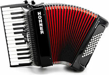 Hohner Bravo II 48 Bass Piano Accordion Acordeon  BLACK, DVD, GigBag, Straps
