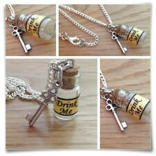 Alice In Wonderland Mini bebida me Botella & clave Collar