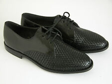 NOS Bally France LEGGERISSIMO Black Weave Leather Dress Lace Up Shoes Mns Sz 9 E