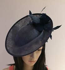Nigel Rayment NAVY BLUE FASCINATOR DISC Wedding ASCOT Occasion Formal Hat
