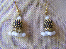 ETHNIC EXOTIC MADE IN INDIA BRASS GOLD BARREL BEAD WHITE BEADED DESIGN EARRINGS