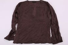 100% Silk Day Birger Et Mikkelsen Tunic Blouse Top Size 38 Brown Womens T41