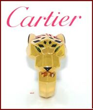 CARTIER PANTHER 18kYG TSAVORITE ONYX BLACK LACQUER RING WITH CARTIER CERTIFICATE