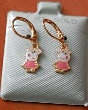 14K Gold Filled PINK Peppa Pig hanging Earrings / Teenager Children / Jewelry