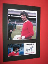 GEORGE BEST MANCHESTER UNITED A4 MOUNT SIGNED PRE PRINTED BOBBY CHARLTON MAN UTD