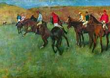 A3 Box Canvas Horse racing before starting Degas