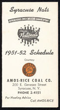 "1951-52 Syracuse Nationals (""Nats"") original schedule - Near Mint condition RARE"