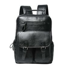 Fashion Men Black Leather Backpack Travel Bag Buckle Backbag Laptop Bag Ruchsack