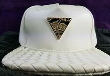 Hater Snapback Hat White Leather Crown Intrecciato Brim Beautiful