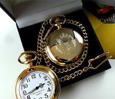 BRITISH ARMY AIR CORPS 24K REAL GOLD Plated Pocket Watch in Luxuruy Gift Case