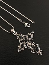 WOMEN'S FASHION JEWELRY STAINLESS STEEL SILVER CROSS NECKLACE AND CHARM