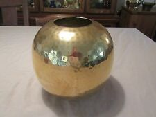 Vintage Hammered Round Brass Planter Pot