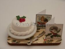 Dolls house food: Christmas cake & christmas cards display board  -By Fran