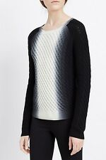 NWT $365 VINCE Blue Ombre Dip Dye Wool Cashmere Cable Knit Sweater - XL