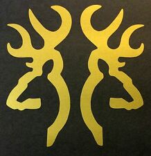 2 GOLD BROWNING DEER BUCK DOE DECAL STICKER LOGO BADGE EMBLEM HUNTING SHOOTING