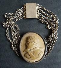 Bracelet argent massif + camée pierre de lave 19e siècle silver