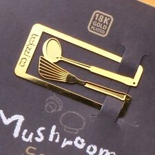 mini COOKING MUSHROOM SUOP 18k gold plated bookmark for cook book recipe tools