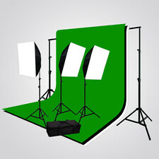 3 Softbox Video Photography Lighting 3 Muslin Backdrop Stand Kit JGG1235