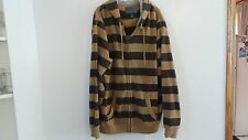 Old Navy Mens Full Zip Brown With Tan Stripe Sweatshirt Hoodie Size XXL