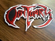 OBITUARY,IRON ON RED WITH WHITE EDGE EMBROIDERED PATCH