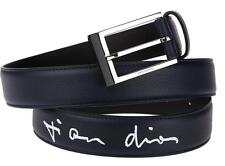 NEW DIOR HOMME NAVY BLUE MONOGRAM LEATHER ENAMEL PIN BUCKLE BELT 105/42